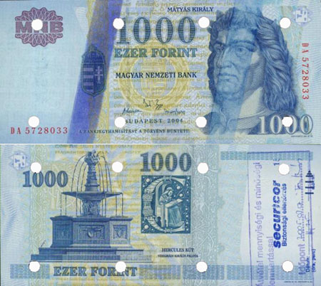 1000 forint 2004 - hamis Securicor bélyegzés